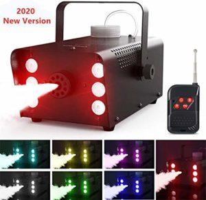 Machine à Fumée, Theefun 7 couleurs 6 LED Machine à Brouillard avec Télécommande sans Fil Idéal pour les mariages, Halloween et spectacles de scène