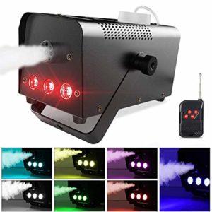 Machine à Fumée, Theefun Machine à Brouillard avec Télécommande sans Fil et 7 couleurs 3 LED parfait pour les mariages, Halloween et spectacles de scène