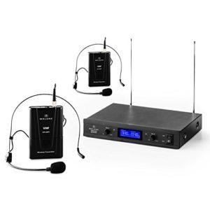 Malone VHF-400 Duo2 • Set Micro-Casques 2 canaux • Système de Microphones sans Fil • Emission à 50 mètres • Suppresseur de Bruit intégré • Longue durée de Fonctionnement • Distorsion: