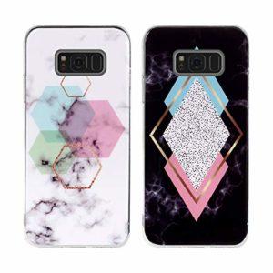 Misstars 2X Coque en Silicone pour Samsung Galaxy S8 Plus Marbre, Ultra Mince TPU Souple Flexible Housse Etui de Protection Anti-Choc Anti-Rayures Bumper, Géométrique+Diamant Tricolore
