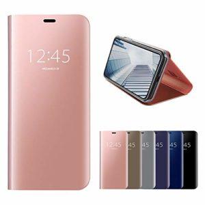 Misstars Miroir Coque pour Xiaomi Redmi Note 5 / Note 5 Pro, Luxe Placage Effet Étui à Rabat en PU Cuir + PC Matière Backcover Transparent Clear View Design Fonction Stand Protector Bumper, Or Rose
