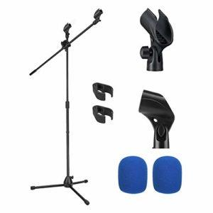 Moukey Pied de Micro avec Perche Stand Support Double Microphone avec 2 Pince Micro et 2 Bonnettes Micro