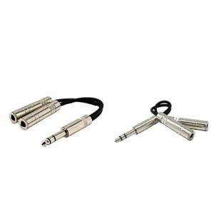 #N/A 2×6.35mm 1/4″Jack Mâle à 2X6.5mm 1/4″ Femelle Y Séparateur Câble Audio