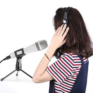 Neewer Pliable Trépied de Micro Support de Microphone sur Table avec Pieds Antidérapants, Construction Durable en Fer, 3/8″et 5/8″ Fileté de Monture, Noir