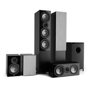 NUMAN Reference 851 Système HiFi Audiophile Ensemble d'enceintes 5.1 (2 Enceintes Colonne, 2 Enceintes bibliothèque, subwoofer de 16,5cm de 6.5″) – Noir & Argent