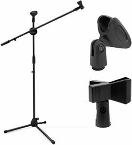 Ohuhu® Générique support de microphone/Pied de Microphone/stand de microphone double Mic clip/pince