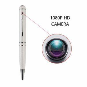 OMZBM Mis À Jour Spy Pen avec Surveillance Caméra Cachée-128 Go-1080P Full HD Recorder Pen, Surveillance De Sécurité Multifonction sans Fil DV Cam,White