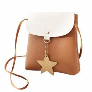 OneMoreT Mini sac à bandoulière en similicuir pour femme Motif étoile marron
