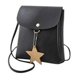 OneMoreT Mini sac à bandoulière en similicuir pour femme Motif étoile Noir