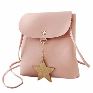 OneMoreT Mini sac à bandoulière en similicuir pour femme Motif étoile rose