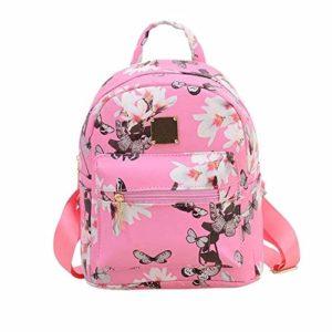 OneMoreT Sac à dos de voyage en similicuir pour femme Motif floral Flowers Pink