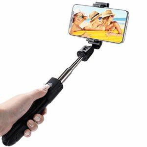 OverTop Trépied universel Bluetooth 4.0 rotatif à distance sans fil pour Selfie Perche portable pour téléphone portable diffusion en direct