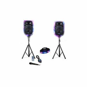 Pack Sonorisation 15″/38cm 1000W Club DJ Ibiza Sound PKG15A-SET- LED/Radio FM/USB/SD/BLUETOOTH Party + Ovni Festinight