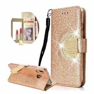 Paillettes Coque en PU Cuir pour Huawei P20 Lite Or, Misstars Étui à Rabat Portefeuille Luxe Glitter Strass avec Miroir Design Fonction Stand et Porte-Carte Housse de Protection
