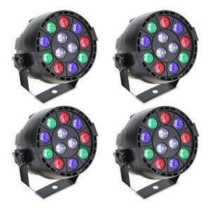 Par LED, Lixada DMX512 Lampe de scène Projecteur à effet, 12 LED RGBW 8 canaux, DMX512/Master Slave/stroboscope autonome/automatique pour Club Bar KTV Disco Show(4pcs)