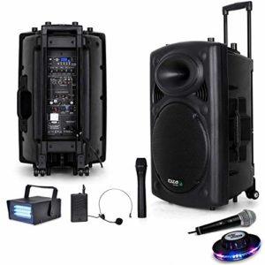 Public Adress mobile MP3 800W + 3 micros PORT15VHF-BT + Câble PC + Effet OVNI RoundMagic + Mini Strobe