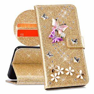 QPOLLY Compatible avec Coque Huawei P20 Lite Bling Glitter 3D Diamant Portefeuille Housse à Rabat en Cuir Luxe Brillante Paillette Sparkle Étui de Protection avec Fentes de Cartes et Fonction Stand,Or