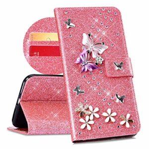 QPOLLY Compatible avec Coque Huawei P20 Pro Bling Glitter 3D Diamant Portefeuille Housse à Rabat en Cuir Luxe Brillant Paillette Sparkle Étui de Protection avec Fentes de Cartes et Fonction Stand,Rose