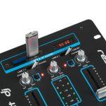 resident dj DJ-25 – Mixeur DJ, Mixeur 2 canaux, Port USB, Prêt pour MP3, 2 entrées RCA Phono/Ligne, Section Microphone, Entrées XLR/Jack, Montage en Rack, Noir/Bleu