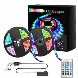 Ruban LED 10m, Elegant Life LED Ruban Bande 32.8ft 3528 RGB SMD, Ruban Lumineux Réglable, télécommande infrarouge à télécommande sans fil, alimentation LED pour la décoration de la chambre (2X16.4ft)