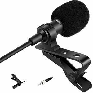Samje Pro Condenser Lavalier Clip sur le microphone cardioïde pour le transmetteur sans fil Sennheiser (prise de verrouillage mono 3,5 mm)