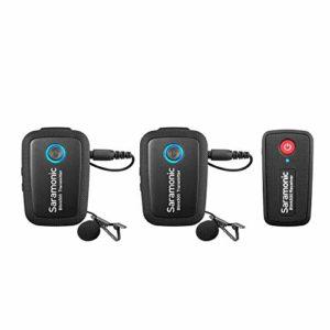 Saramonic Blink 500 Système de microphone sans fil à double canal 2,4 GHz Ultracompact TX + TX + RX Compatible avec les appareils photo avec appareils DSLR sans miroir Entretien en entrevue