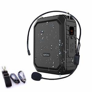 SHIDU Bluetooth amplificateur de voix 18W avec banque filaire casque casque étanche Bluetooth haut-parleur rechargeable banque d'alimentation système système pour l'extérieur, les enseignants, douche