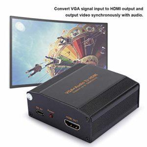 sjlerst Convertisseur VGA+Audio vers HDMI,équipement d'adaptateur de convertisseur de convertisseur Audio Portable 1080P,Résolution de Sortie HDMI (Prise en Charge maximale de 1080P/60Hz)