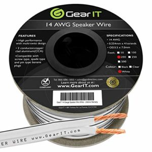 Speaker Wire Câble pour Enceintes 1,63 mm de diamètre GearIT 14AWG (30,48mètres) Installation extérieure Câble pour Enceintes de Haute qualité, Noir