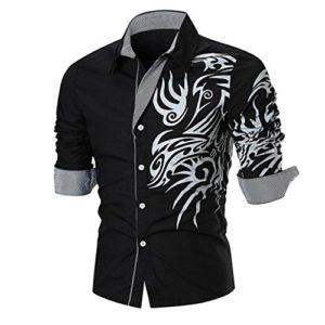 Subfamily Tee Shirt, Chemise à Manches Longues imprimée Chemise Pas Che Polos Chemise Homme Noir Chemise Slim fit