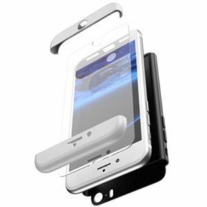 Surakey Coque iPhone SE/iPhone 5S,360 degrés Full Body Protecteur intégrale Coque avec Verre Trempé Anti Rayure Anti Choc Coque 3 en 1 PC Hard Etui Housse Compatible avec iPhone SE/5S/5,Argent Noir