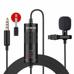 SYNCO Lav S6 Micro-Cravate-Microphone-Caméra-Smartphone Clip on 3.5mm Omnidirectionnel Audio Condensateur Mic Lapel Lavalier pour iPhone Samsung Téléphone PC Caméscopes Vidéo