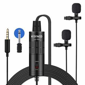 SYNCO Lav S6D [Officiel] Micro-Cravate-Caméra-Smartphone avec Clips Double Audio 3.5mm Omnidirectionnel Condensateur Mic Lapel Lavalier pour iPhone Samsung Téléphone PC Caméscopes Vidéo