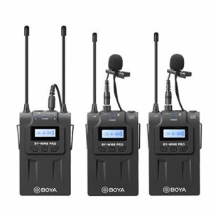 Système de microphone sans fil BOYA UHF Lavalier avec émetteurs et récepteurs sans fil compatibles avec les appareils photo reflex Canon Nikon Sony, caméscope XLR,téléphone idéal pour la visualisation
