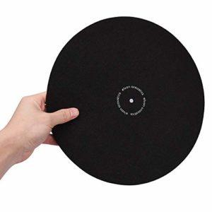 Tapis de platine antidérapant en laine antistatique pour lecteur de disque vinyle Noir 30,5 cm
