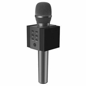 TOSING 008 microphone sans fil Bluetooth karaoké, plus fort volume 10W puissance, plus de basse, 3-en-1 portable poche double haut-parleur micro machine pour iPhone/Android/iPad/PC (noir)