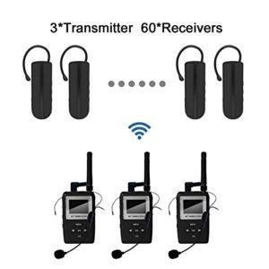 TP-WIRELESS UHF Digitale Audio Système Tour Guide avec Mini la corne d'oreille Récepteur avec pour la Tour Guide, l'enseignement Audio-visuel, la traduction simultannée et la visite du musée (3 émetteur et 60 récepteur noir)