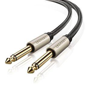 UGREEN Câble Audio Jack 6.35mm vers 6.35mm Câble d'Instrument Mono Mâle vers Mâle Cordon Nylon Tressé pour Guitare Basse Clavier Amplificateur Chaîne Hifi Enceinte Table de Mixage (2 M)