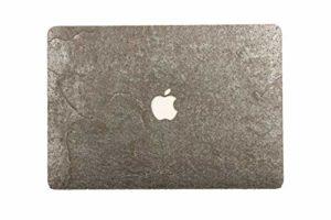 WOODWE Skin Autocollant en Pierre véritable pour MacBook 12″ Modèle : A1534 début 2015 – mi-2017 – Véritable Pierre Grise argentée Naturelle