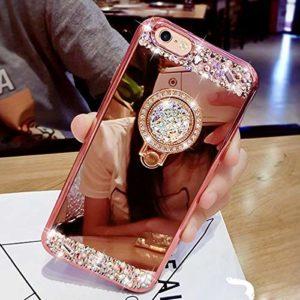 Yobby Miroir Coque pour Samsung Galaxy J6 2018,Samsung Galaxy J6 2018 Or Rose Coque Bague Anneau Kickstand Glitter Diamant Luxe Bling Cristal Strass Mince Fine Caoutchouc Bumper House de Protection