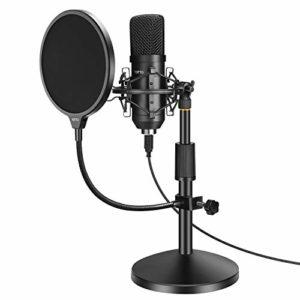 YOTTO USB Microphone, Microphone à Condensateur Kit, Microphone Cardioïde pour Enregistrement Vidéo Youtube, Conversation, Podcast, Jeu avec Support de Microphone, Filtre Anti-Pop, Support Anti-Choc