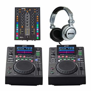 2 x Gemini MDJ-500 + PMX-10 Mixeur DJ Media Player Kit de démarrage avec casque Disco