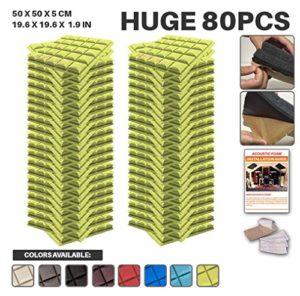 Ace Punch 80 Paquet Auto-adhésif Hémisphère Grid Mousse Acoustique Panneau Insonorisation Sonorisation Absorbeur Traitement avec Ruban Adhésif 50 x 50 x 5 cm Jaune AP1056