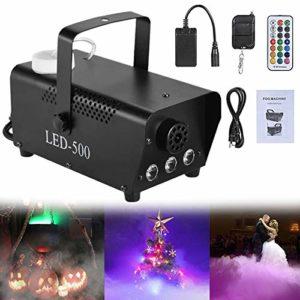 ATGTAOS Machine à Fumée, avec 3 Lumières LED RVB, Machine à Brouillard, 400W / 500W, Télécommande sans Fil, Portable, pour Noël, Halloween, Fêtes, Mariage, Scène, Club de Bar, Intérieur, Extérieur