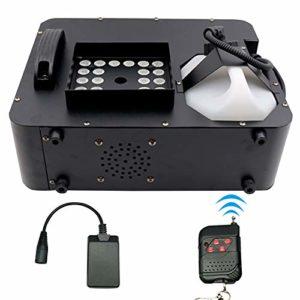 ATGTAOS Machine à Fumée Machine à Brouillard, RGB DMX 3 in1 24 LED Machine à Fumée Éclairage de Scène Projection Verticale W/Remote, pour Noël, d'halloween, Extérieur, Intérieur, Mariage Scène