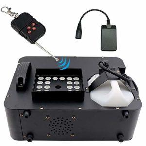 ATGTAOS Machine à Fumée Machine à Brouillard, RGB DMX 3 in1 24 LED Machine à Fumée Éclairage de Scène Projection Verticale W/Remote, pour Noël, d'halloween, Mariage, Extérieur, Intérieur, Scène