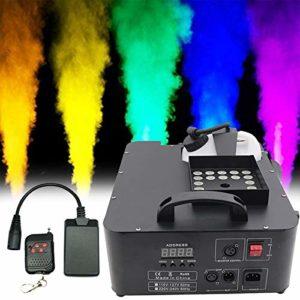 ATGTAOS Machine à Fumée Machine à Brouillard, RGB DMX 3 in1 24 LED Machine à Fumée Éclairage de Scène Projection Verticale W/Remote, pour Noël, d'halloween, Mariage, Scène, Extérieur, Intérieur