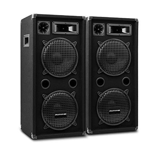AUNA Pro PW – Enceintes de Sono passives, Lot de 2: 2 x Enceintes de Sono, 2 caissons de Basses de 25,5 cm (10″), capacité: 450W RMS / 900 Wmax, 3 Voies, Tweeter piézo, médium à pavillon, Noir