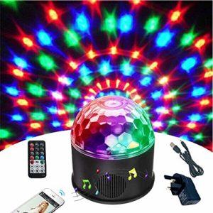 Ballon de disco Bluetooth Wonsung 9 couleurs de miroir de fête de la boule de projecteur de scène de lumières stroboscopiques effet mini lumières magiques de bal de danse