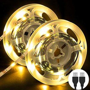 Bande LED [2 x 3M], OMERIL Bandes Lumières 180LED 5V TV Lightstrip, Ruban LED pour Bricolage, Cuisine, Chambre, Fête, Maison, Décoration de Noël, Blanc Chaud, USB Plug & Play
